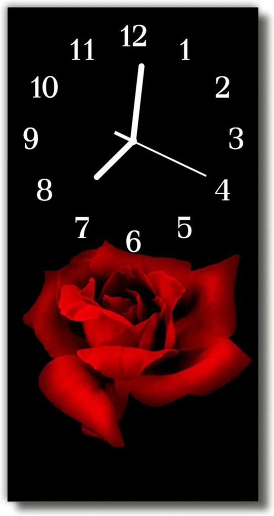 Sklenené hodiny vertikálne  Kvety Červená ruža