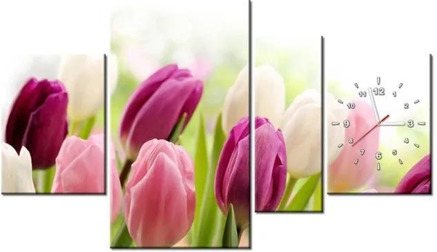 Tlačený obraz s hodinami Farebné jemné tulipány 120x70cm ZP2125A_4AN