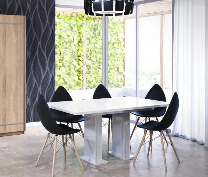 Rozkladací jedálenský stôl Gloss, biely lesk
