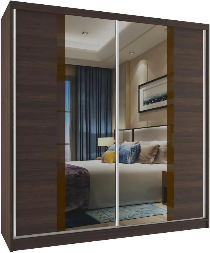 Zrkadlová skriňa v dekore gaštan Grimy 158 cm