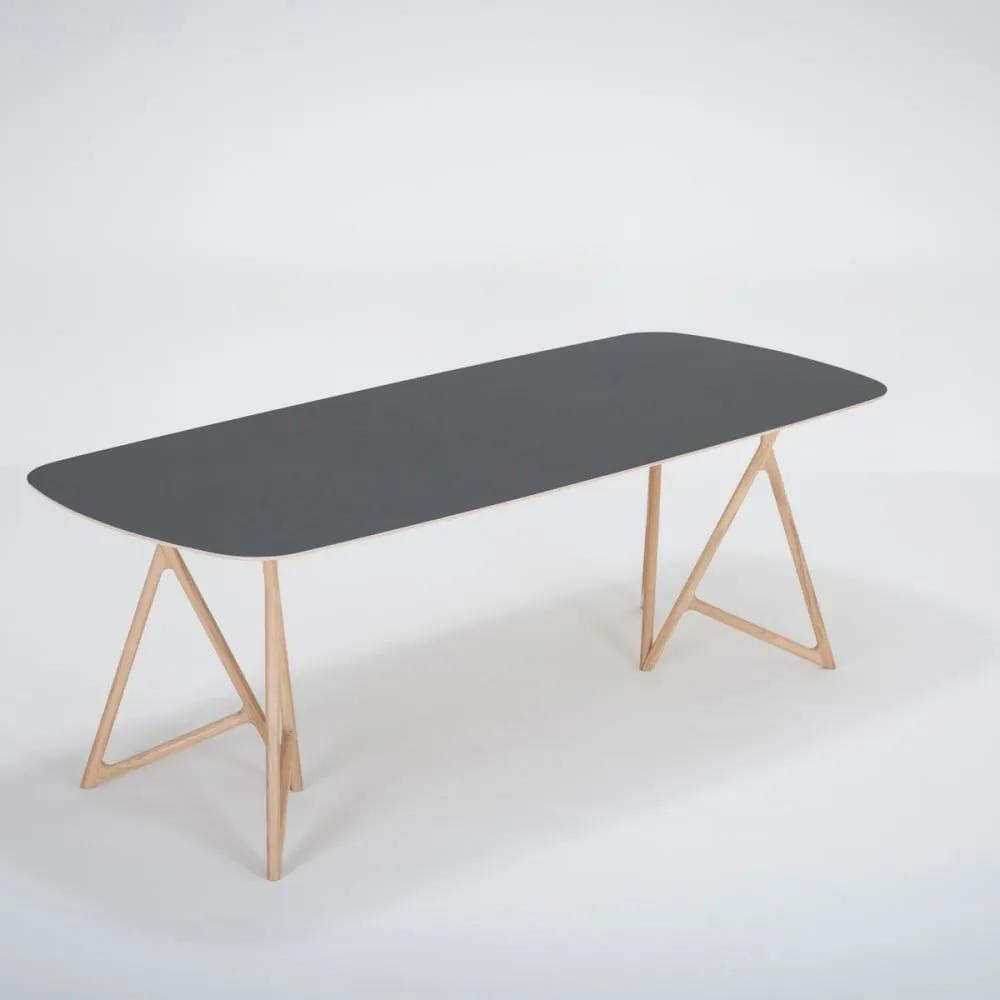 Jedálenský stôl z masívneho dubového dreva s čiernou doskou Gazzda Koza, 220 × 90 cm