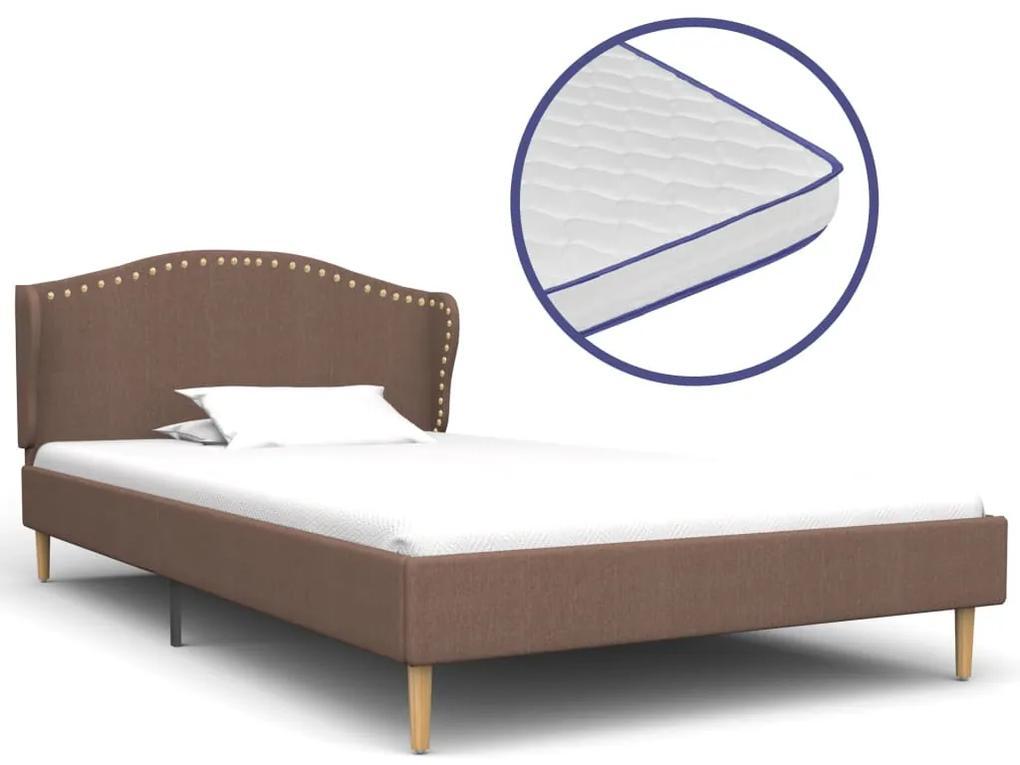 vidaXL Posteľ s matracom s pamäťovou penou hnedá 90x200 cm látková