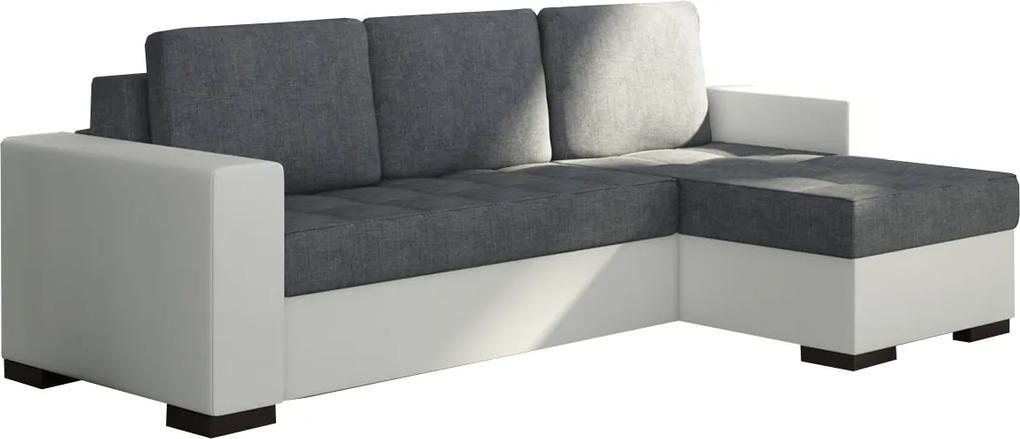 NABBI Novara L/P rohová sedačka s rozkladom a úložným priestorom sivá (Sawana 05) / biela (Soft 17)