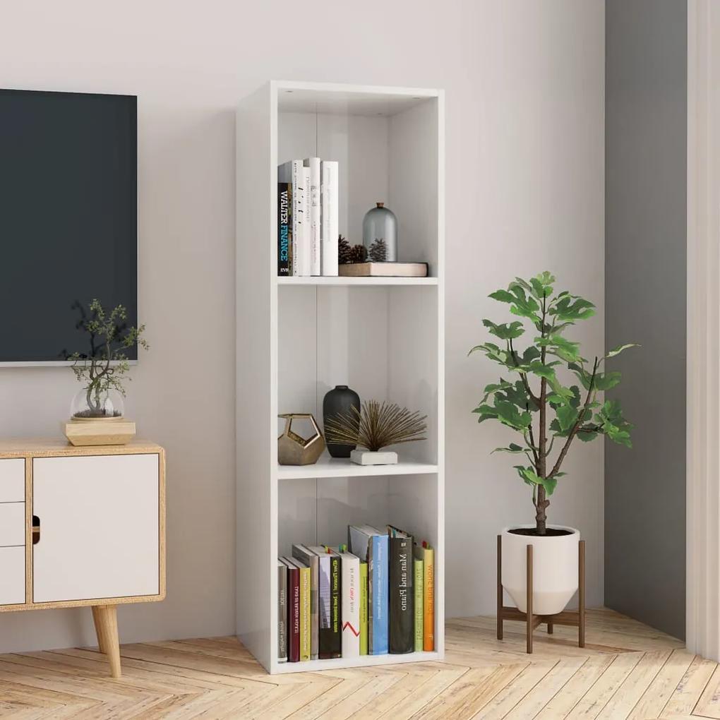 vidaXL Knižnica/TV skrinka, lesklá, biela 36x30x114 cm, drevotrieska