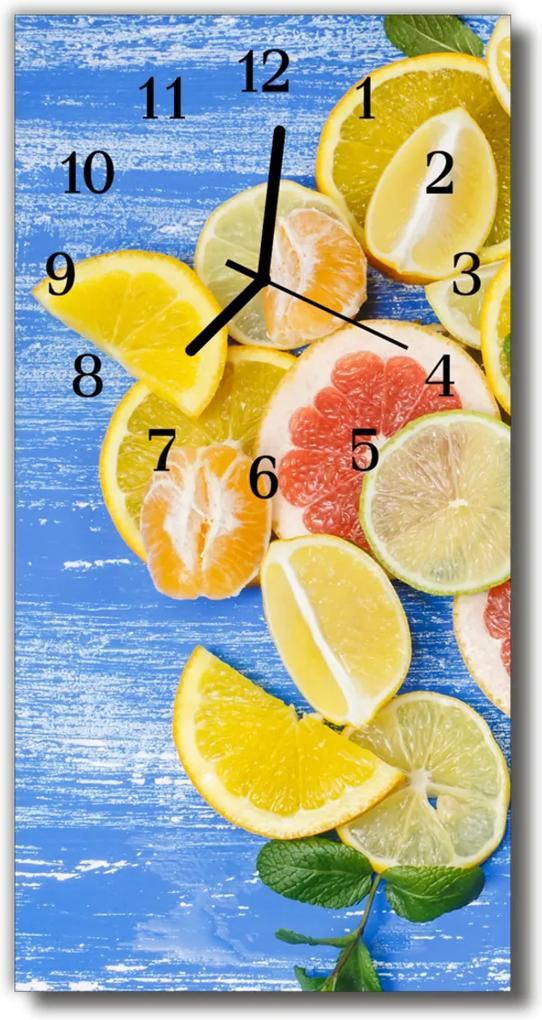 Sklenené hodiny vertikálne  Kuchyňa. Farebné citrusové plody
