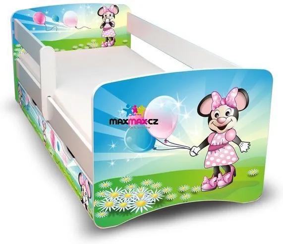 MAXMAX Detská posteľ so zásuvkou 180x90 cm - MYŠKA s balónikmi II 180x90 pre dievča ÁNO