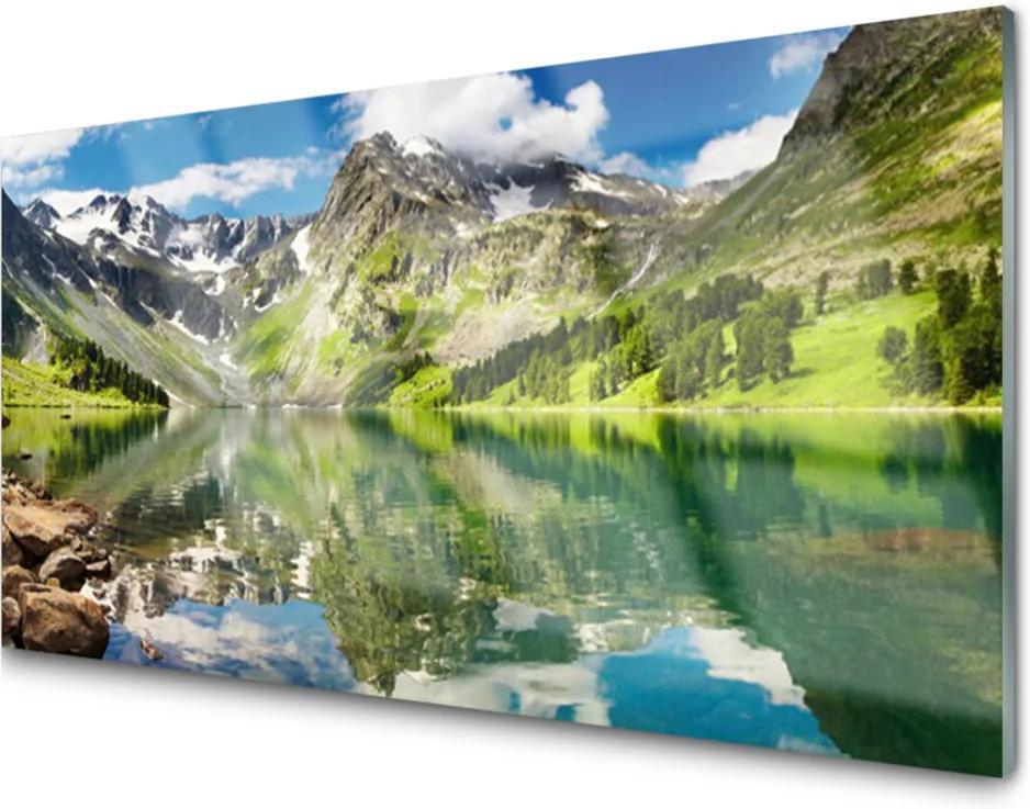 Obraz na skle Hora jezero krajina
