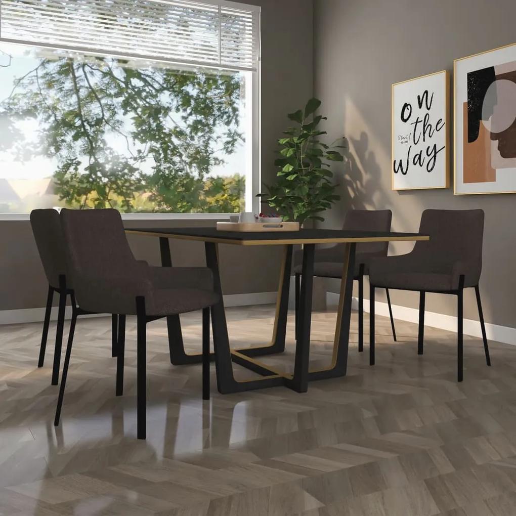 vidaXL Jedálenské stoličky 4 ks, hnedé, látka