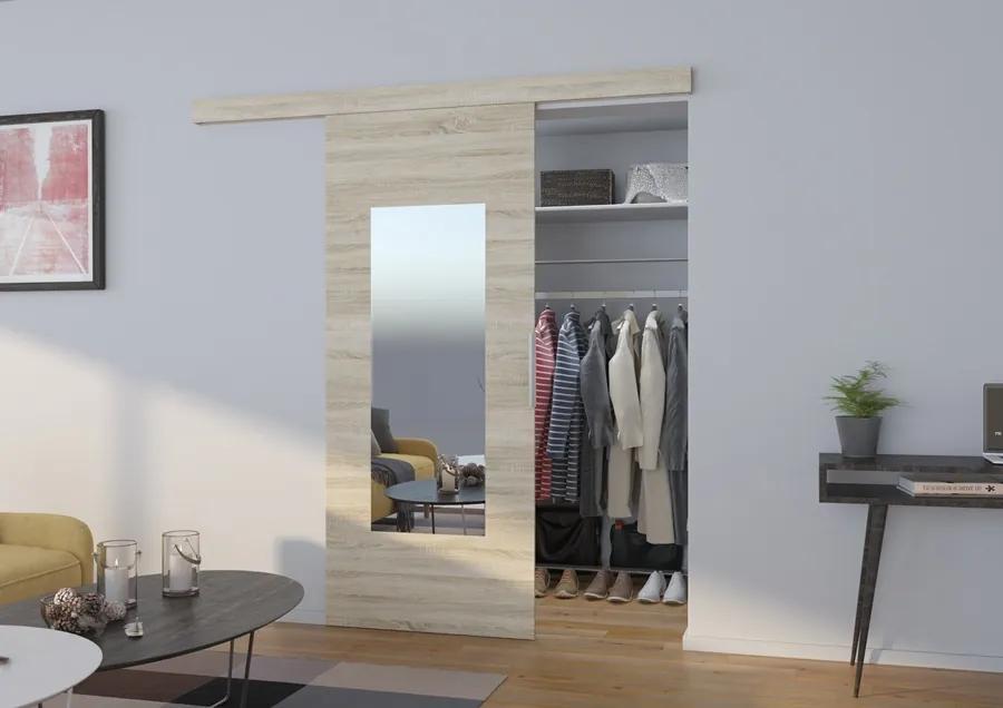Závesné posuvné dvere so zrkadlom First - dub sonoma