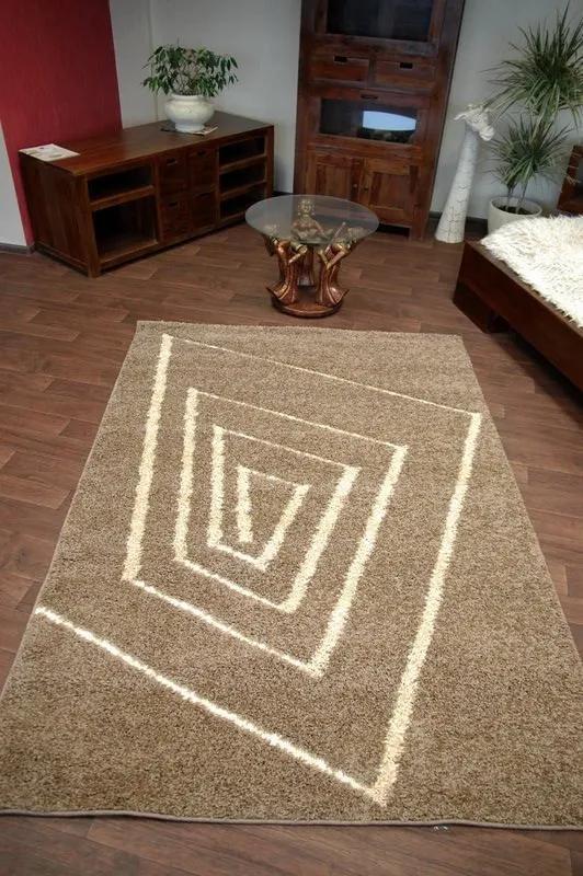 3kraft Kusový koberec STRUCTURAL TEDDY tmavobéžový