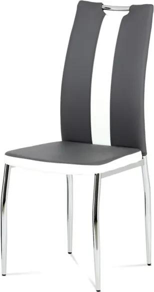 Sconto Jedálenská stolička BARBORA sivobiela/chróm