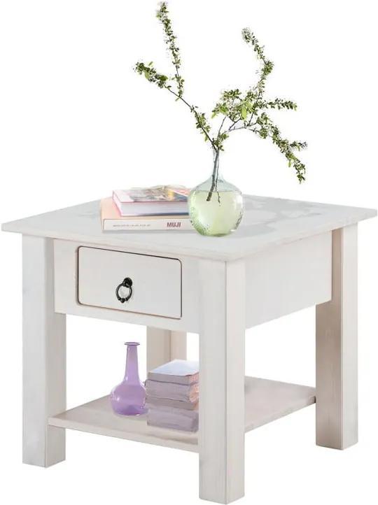 Biely nočný stolík z borovicového dreva Støraa Klein