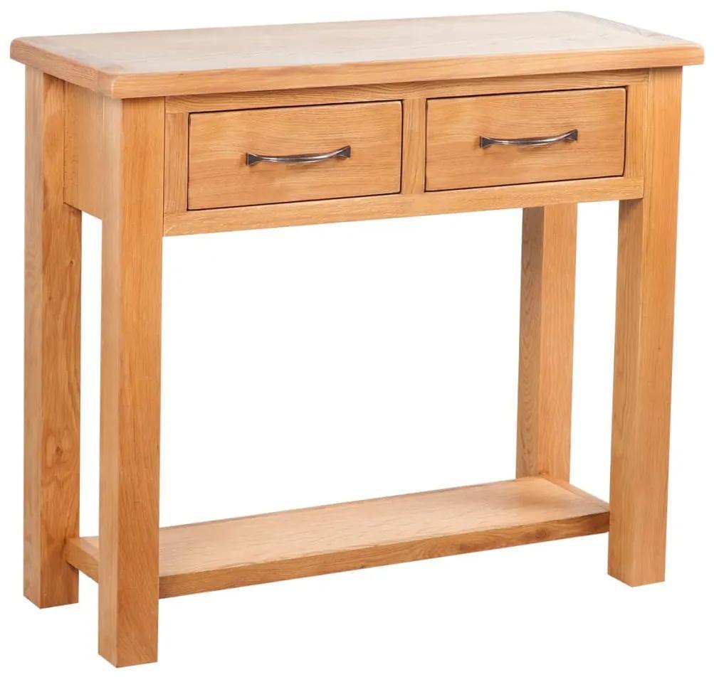 vidaXL Konzolový stolík s 2 zásuvkami 83x30x73 cm, dubový masív