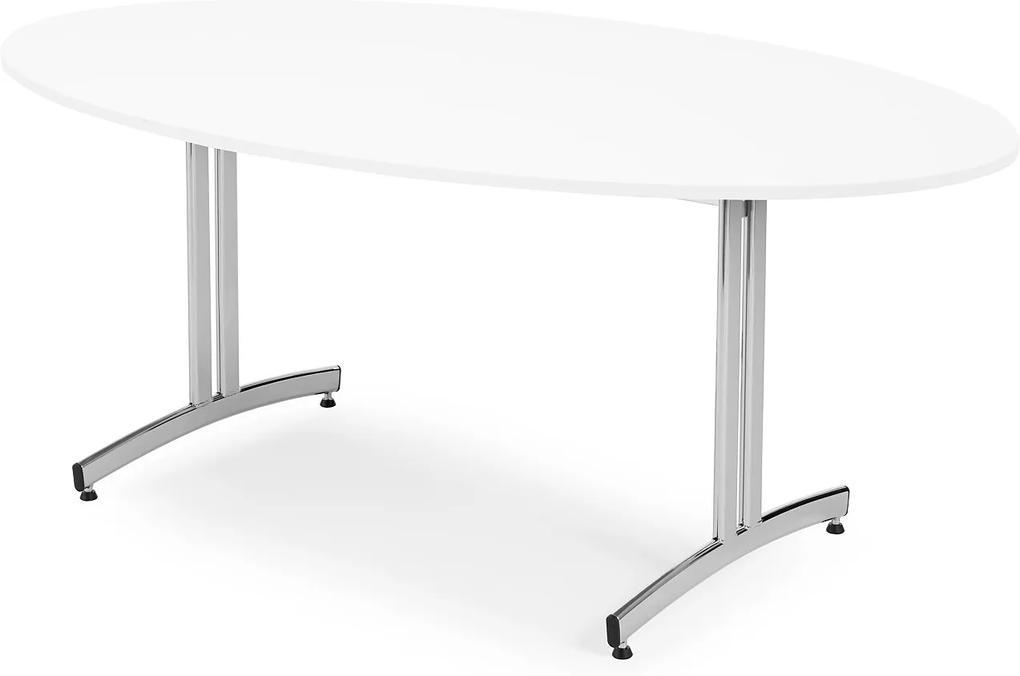 Jedálenský stôl Sanna, oválny, 1800x1000 mm, biela / chróm