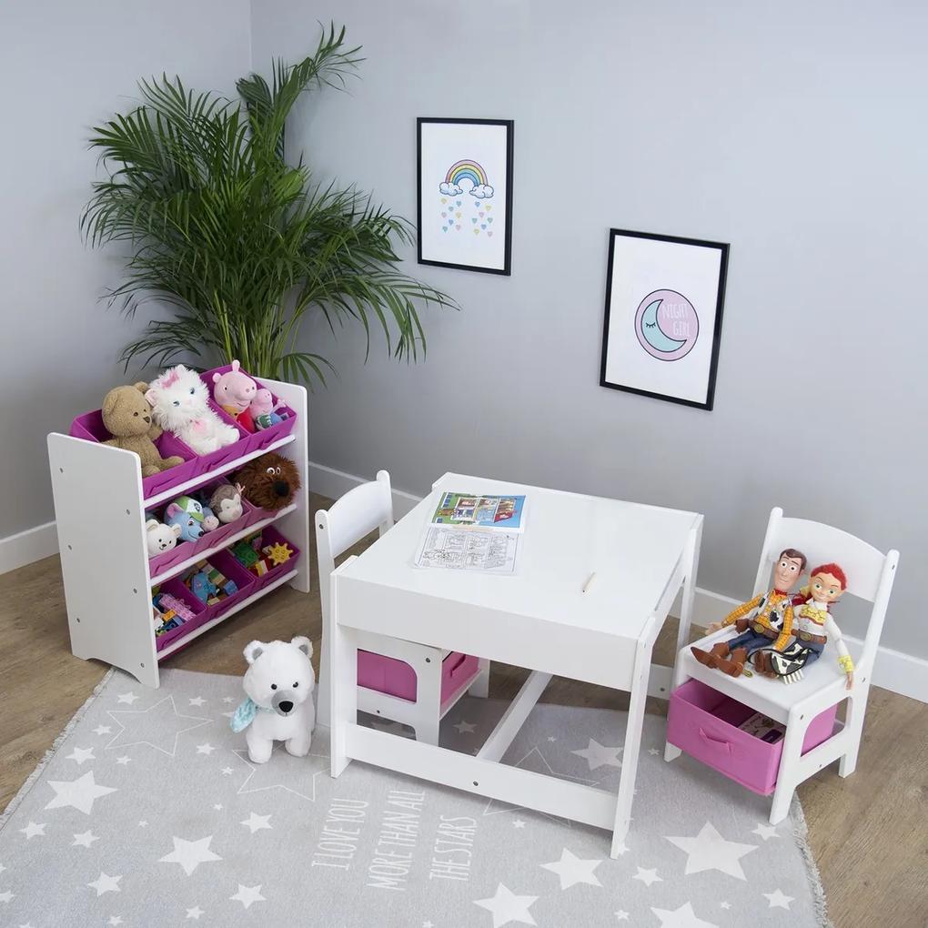 Ourbaby detský stôl so stoličkami s ružovými boxami
