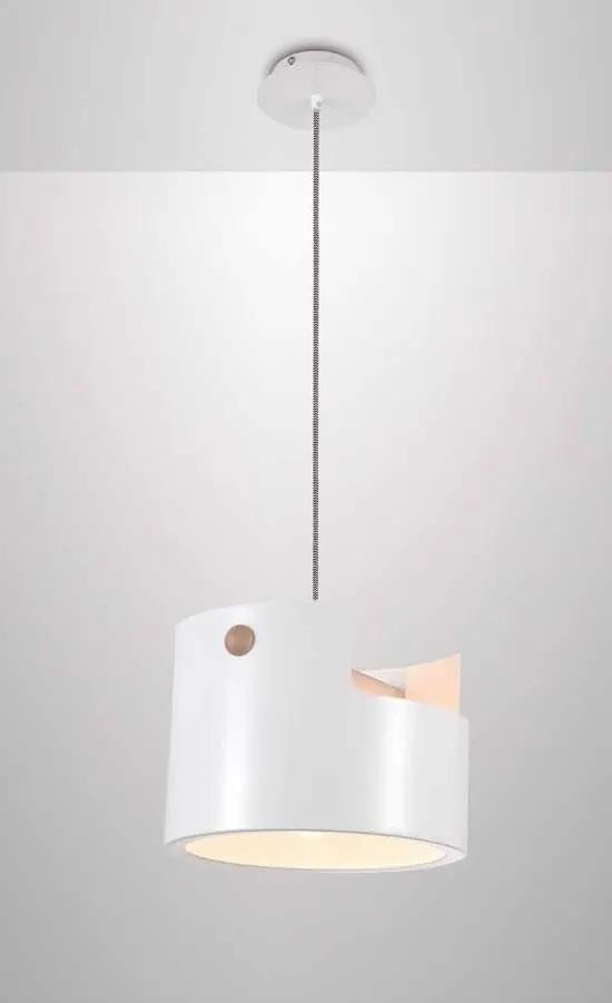 CUBE | dizajnová biela visiaca lampa s drevom Rozmer: 30 cm