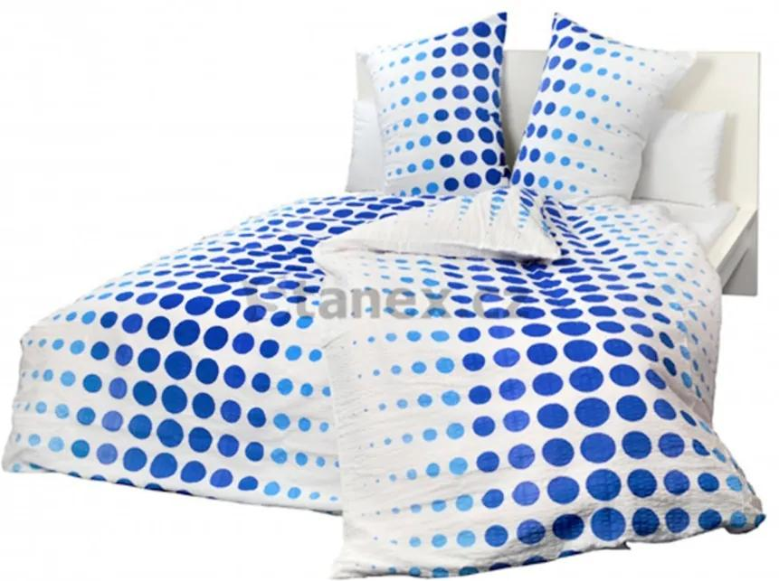 Posteľné obliečky krepové Modrobiele bodky gombíky 140x200cm + 90x70cm