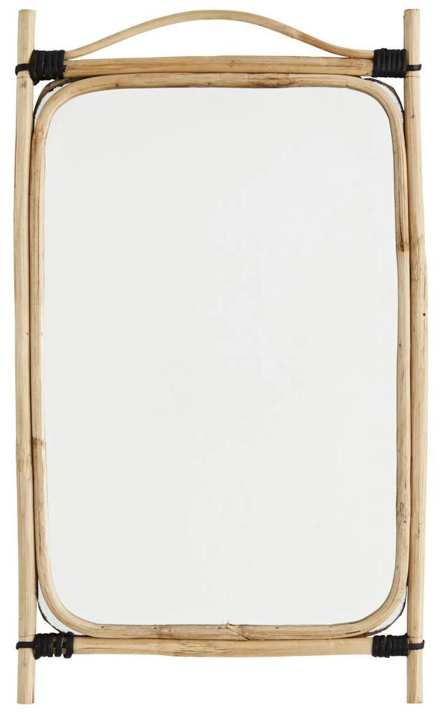 MADAM STOLTZ Obdĺžnikové zrkadlo v bambusovom ráme Natural Bamboo