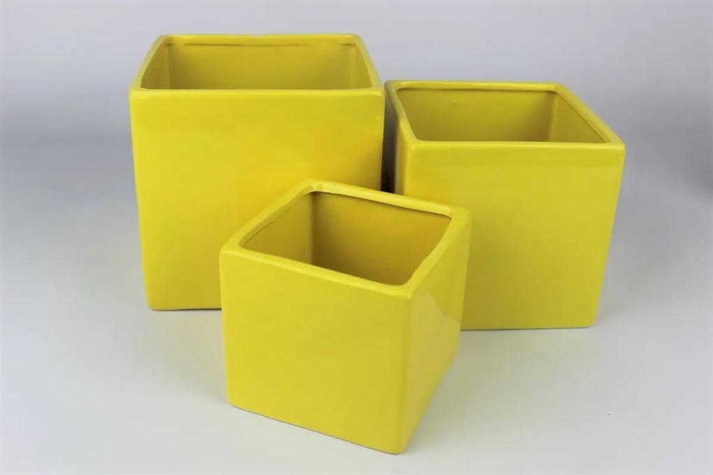 Žltý  keramický hranatý kvetináč 14 cm