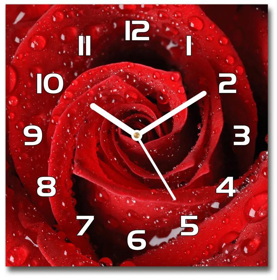 Sklenené hodiny štvorec Kvapky na ružu pl_zsk_30x30_f_37464697