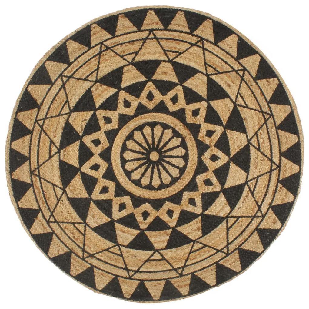 vidaXL Ručne vyrobený jutový koberec s čiernou potlačou 90 cm