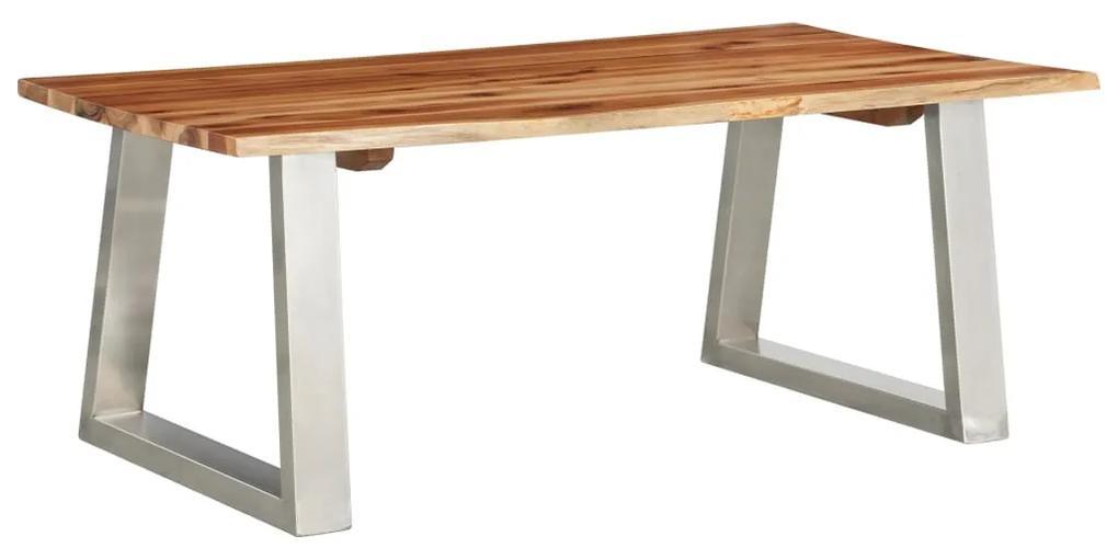 vidaXL Konferenčný stolík 100x60x40 cm akáciový masív a nehrdzavejúca oceľ