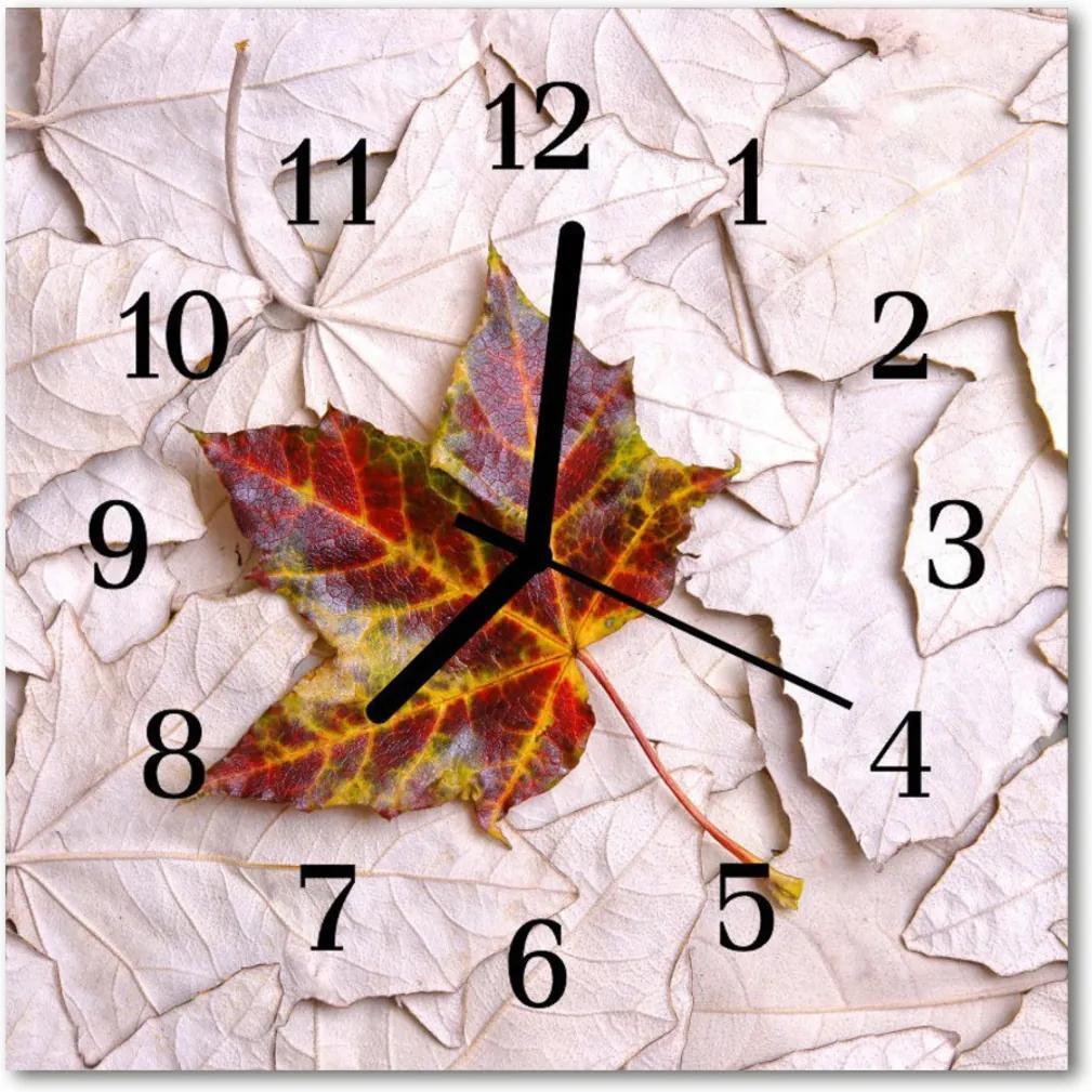 Skleněné hodiny čtvercové Javorový list