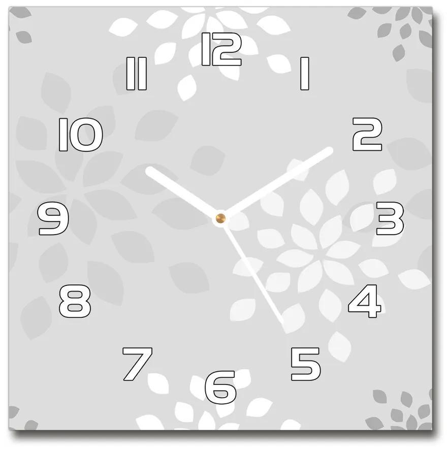 Sklenené hodiny štvorec Kvetinový vzor pl_zsk_30x30_f_94871206