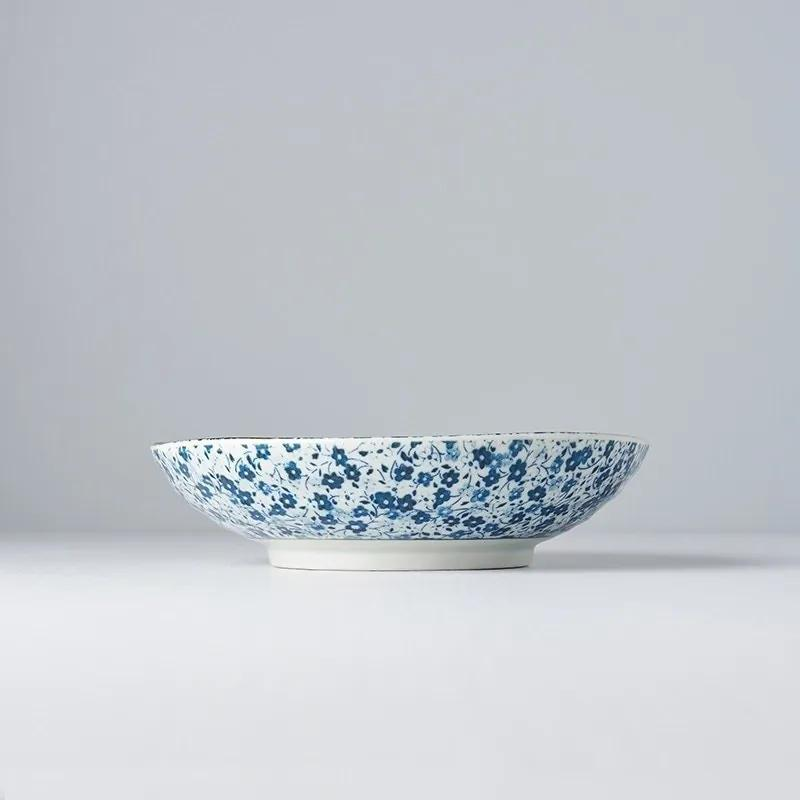 MADE IN JAPAN Sada 2 ks: Plytká misa Blue Daisy 21 cm 600 ml