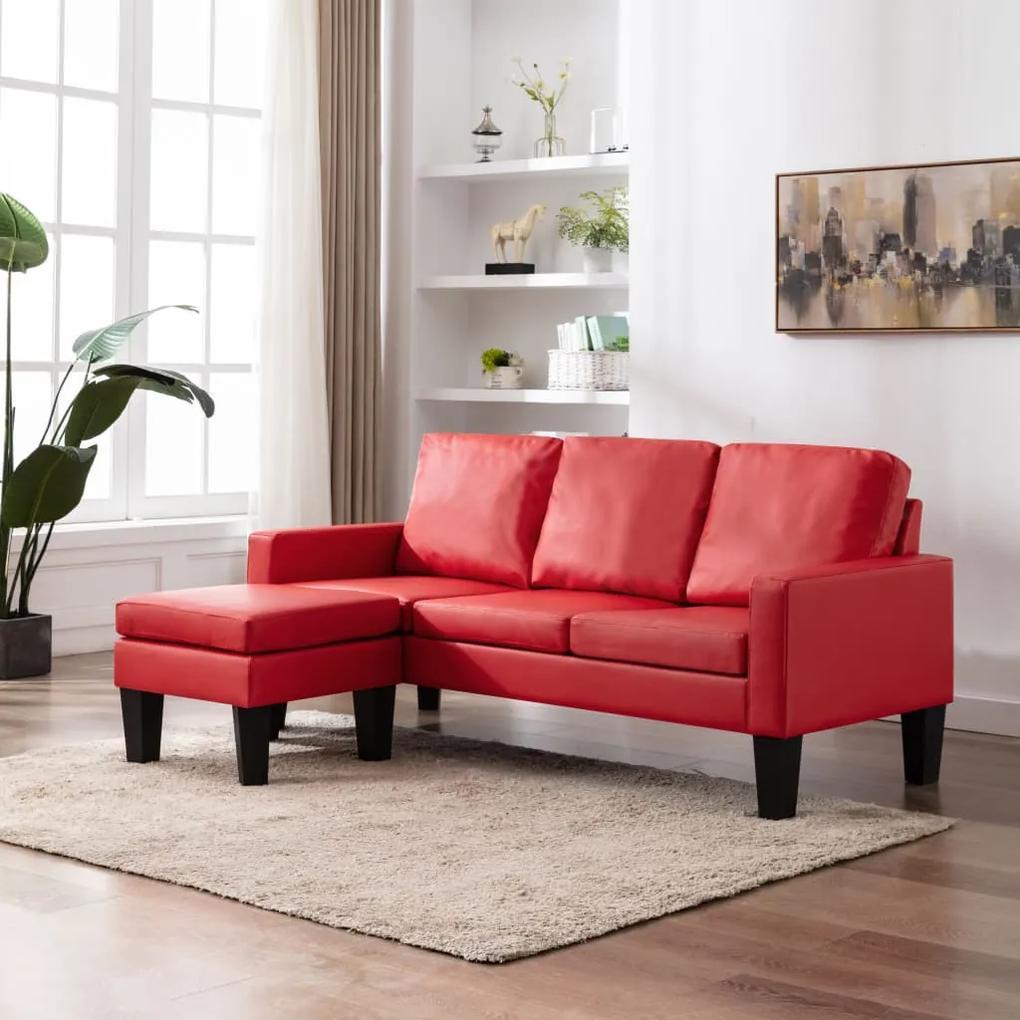 vidaXL 3-miestna pohovka s podnožkou, červená, umelá koža