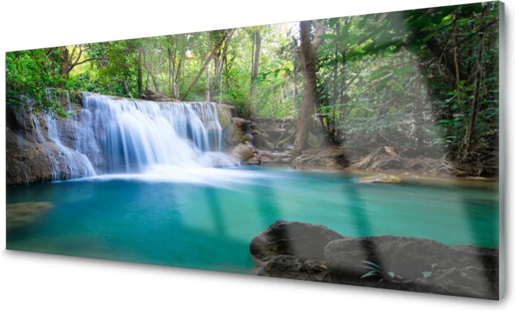 Obraz na skle Vodopád jezero les příroda