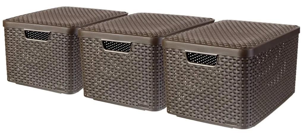 Curver Úložné boxy s poklopmi 3 ks veľkosť L hnedé 240651 Style
