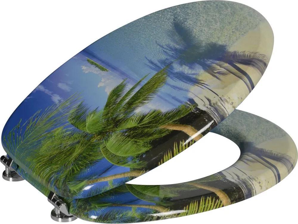 Funny HY-S351 WC sedátko s potlačou palma, MDF