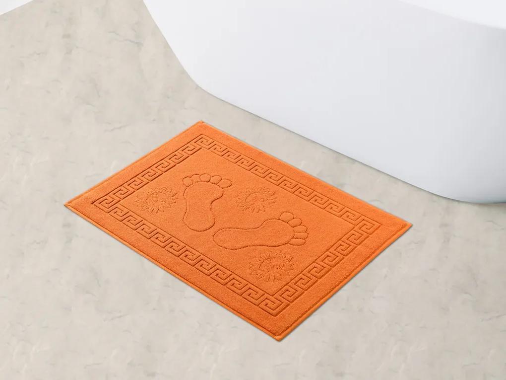 Škodák Kúpeľňová froté predložka vzor Nôžky 022 oranžová - 70x50cm