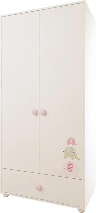 BONY BABY Šatník 2 dverí ružová