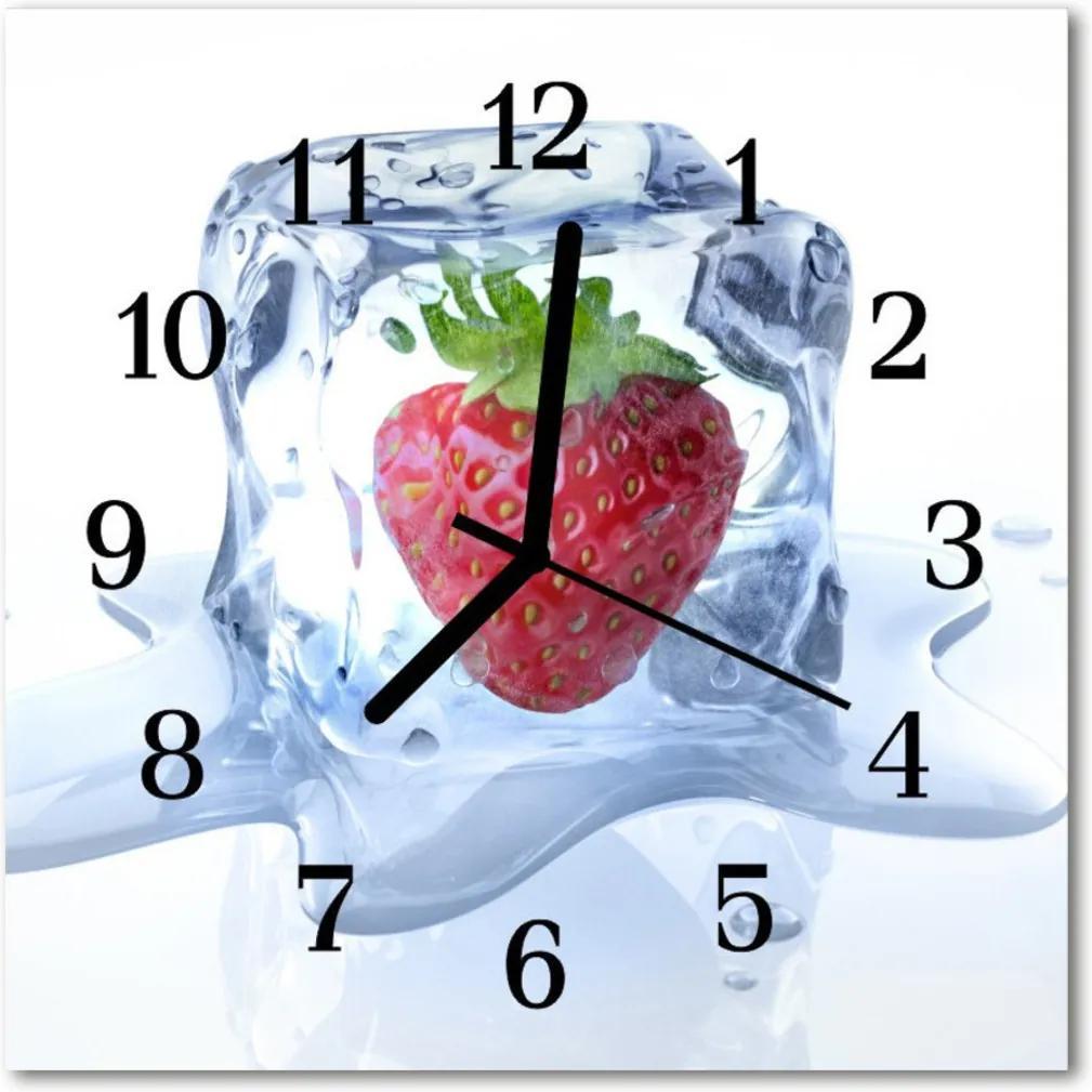 Nástenné skleněné hodiny Jahodová zmrzlina