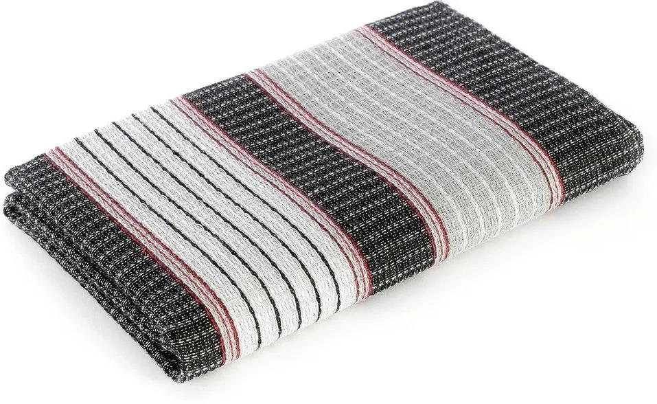 Škodák Pracovný vaflový uterák 011 sivo-čierne pásiky - 50x100cm