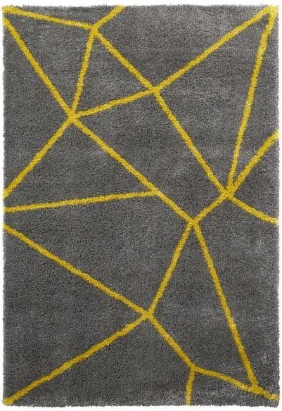 Sivo-žltý koberec Think Rugs Royal Nomadic Grey & Yellow, 120 × 170 cm