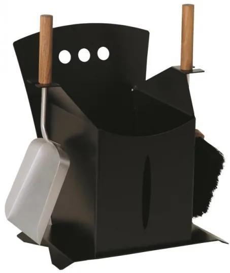 Krbové súprava s košom na peletky Lienbacher 2-dielna - čierna s drevěnými držadlami