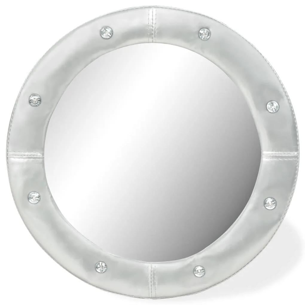 vidaXL Nástenné zrkadlo umelá koža 60 cm lesklé strieborné