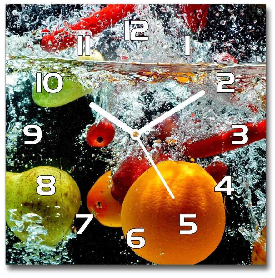 Sklenené hodiny štvorec Ovocie pod vodou pl_zsk_30x30_f_43733857