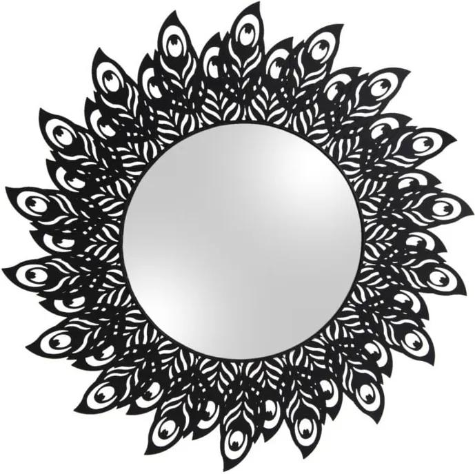 Nástenné zrkadlo s rámom v čiernej farbe PT LIVING Peacock Feathers, 60 × 30 cm