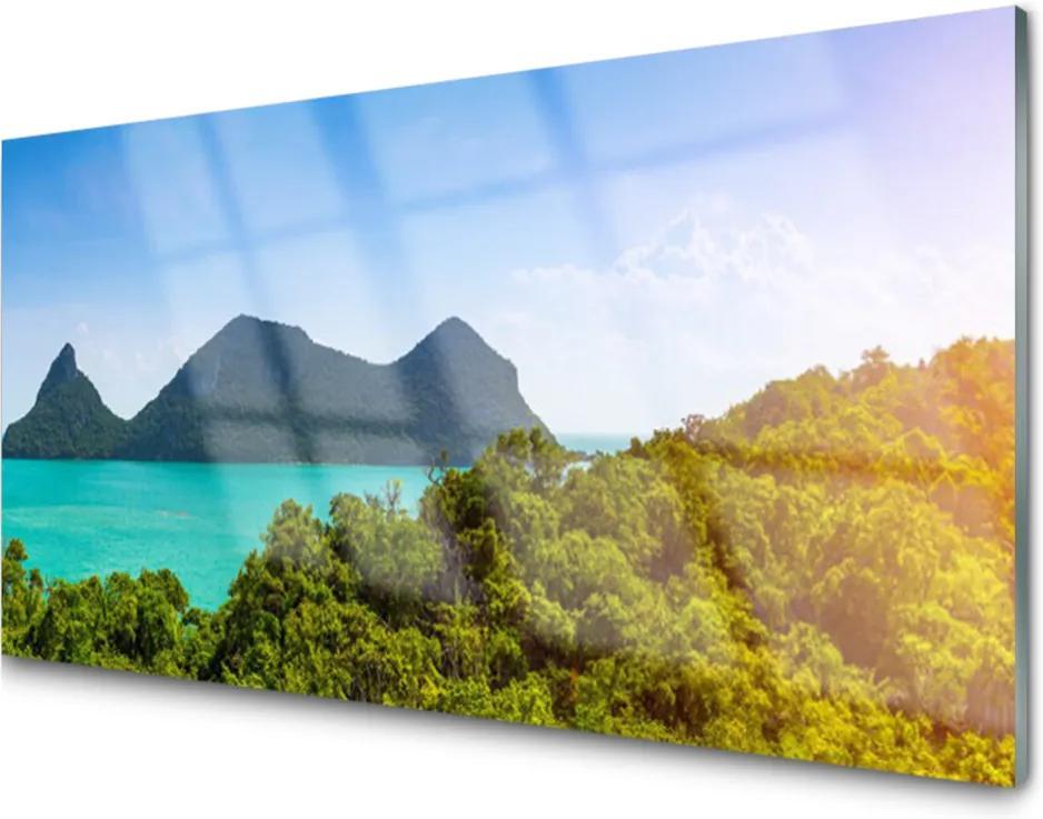 Skleněný obraz Hory Moře Stromy Krajina