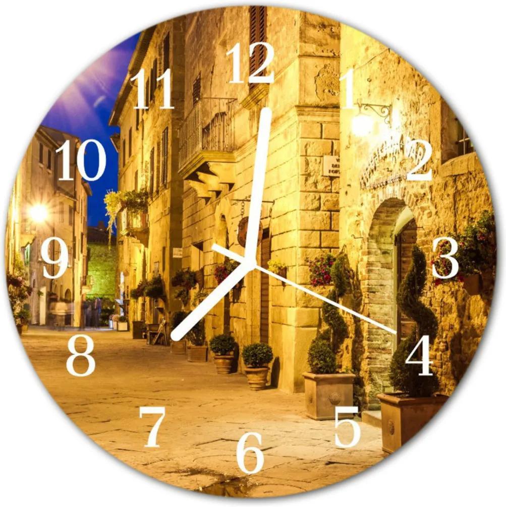 Nástenné skleněné hodiny Ulice v noci