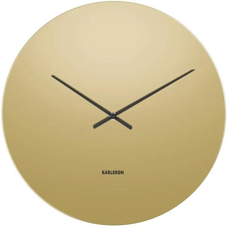 KARLSSON Nástenné zlaté zrkadlové hodiny Mirage