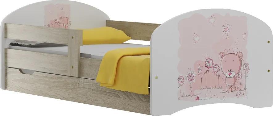 MAXMAX Detská posteľ so zásuvkami MACKO A KVETINKY 180x90 cm 180x90 pre dievča ÁNO