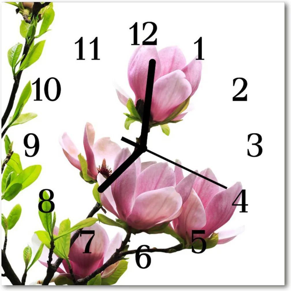 Skleněné hodiny čtvercové Magnolia květina