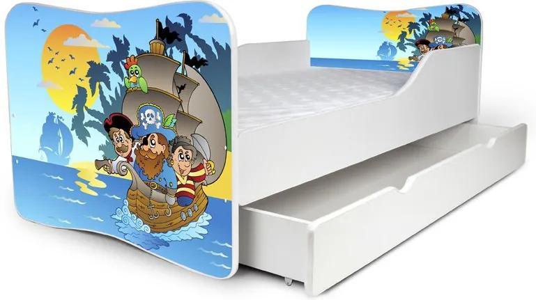 MAXMAX Detská posteľ so zásuvkou PIRÁTI + matrac ZADARMO 160x80 pre chlapca ÁNO