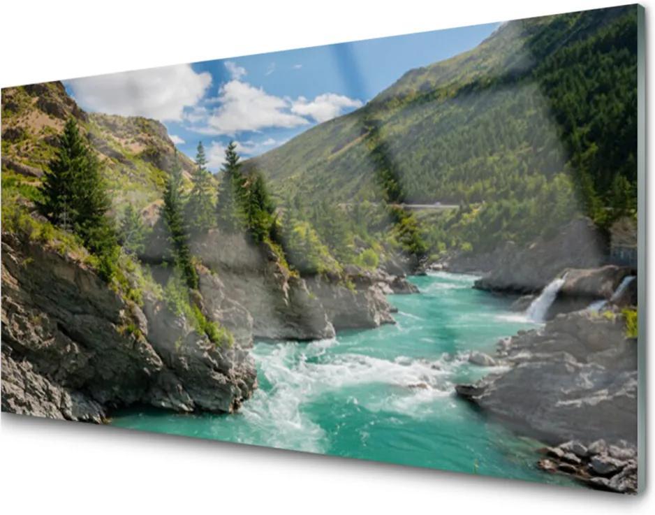 Obraz na skle Hory řeka krajina