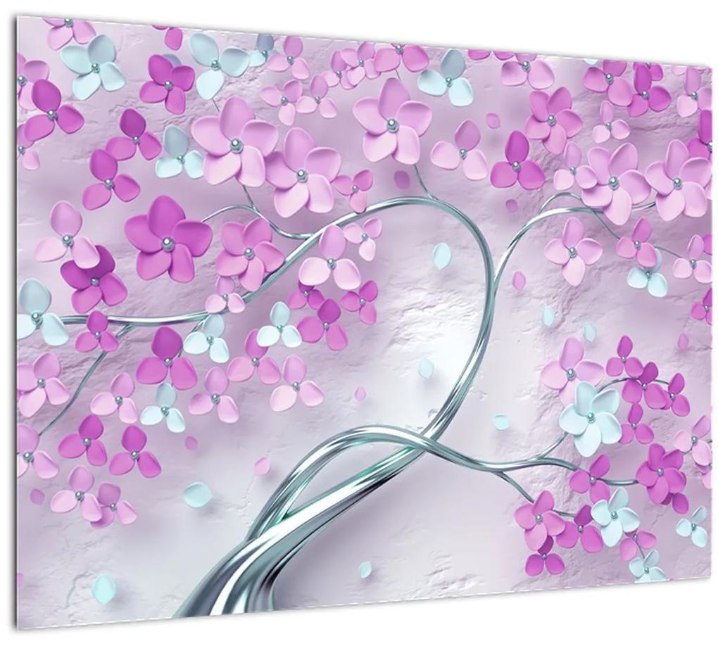 Obraz kvetov na striebornom kmeni - abstrakt (70x50 cm), 40 ďalších rozmerov